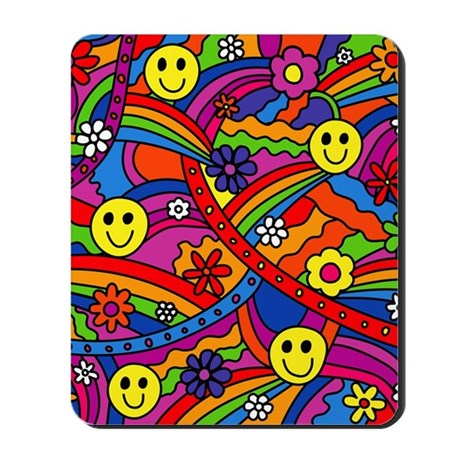 Hippie smiley face rainbow and flowers p mousepad by admin for Where can i buy rainbow roses in the uk