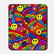 Hippie Smiley Face Rainbow and Flowers P Mousepad
