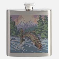 Mountain Trout Fisherman Flask
