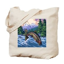 Mountain Trout Fisherman Tote Bag