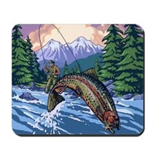 Mountain Trout Fisherman Mousepad
