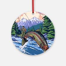 Mountain Trout Fisherman Round Ornament
