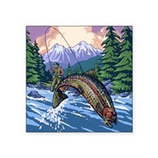 "Mountain Trout Fisherman Square Sticker 3"" x 3"""