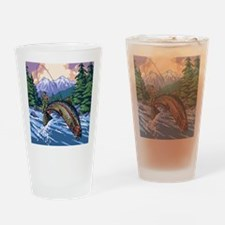 Mountain Trout Fisherman Drinking Glass