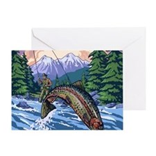 Mountain Trout Fisherman Greeting Card