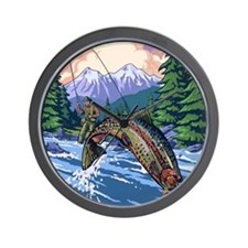 Mountain Trout Fisherman Wall Clock