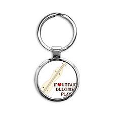 Mountain Dulcimer Player Round Keychain