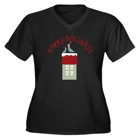 Happy Holida Women's Plus Size Dark V-Neck T-Shirt