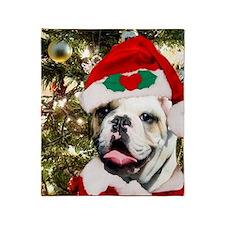 Christmas bulldog Throw Blanket