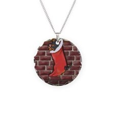 Black and Tan Xmas Dachshund Necklace