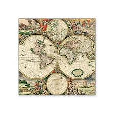 "Vintage Map Square Sticker 3"" x 3"""