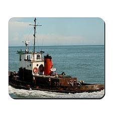 Workboat Speeding On Blue Ocean Mousepad