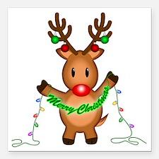"Merry Deer Square Car Magnet 3"" x 3"""