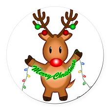 Merry Deer Round Car Magnet