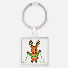 Merry Deer Square Keychain