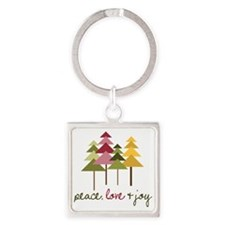 Peace Love And Joy Square Keychain