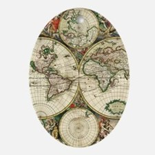 Vintage Map Oval Ornament