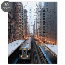 Elevated rail in downtown Chicago over Waba Puzzle