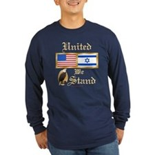 US & Israel United Lng Slv Dark Tee
