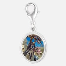 Desert rose tree Silver Oval Charm