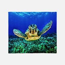 aquatic sea turtle Throw Blanket