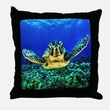 aquatic sea turtle Throw Pillow