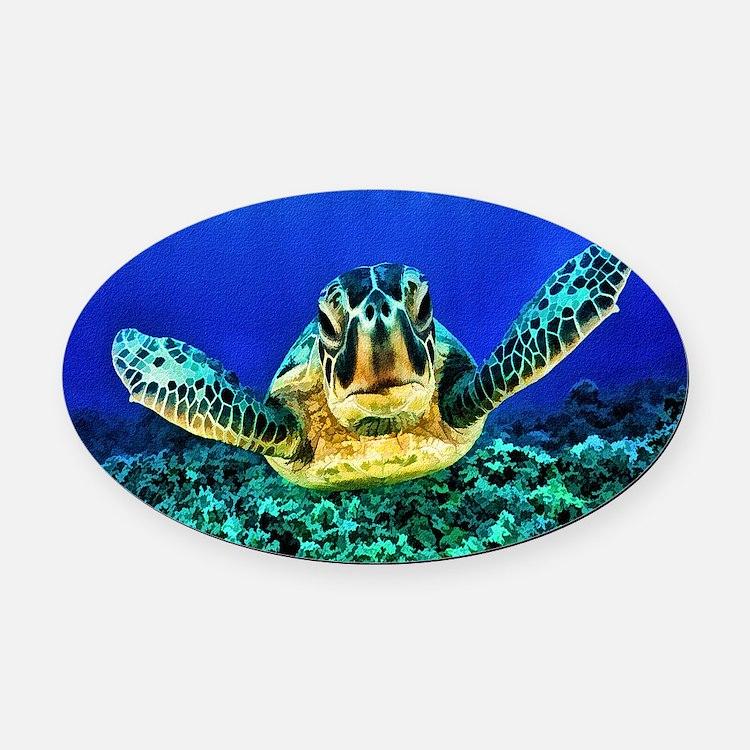 aquatic sea turtle Oval Car Magnet