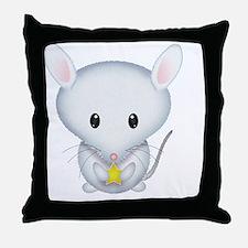 Little White Mouse Throw Pillow