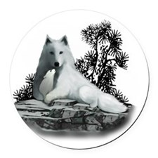 White Wolf and Pup Round Car Magnet