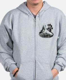 White Wolf and Pup Zip Hoodie