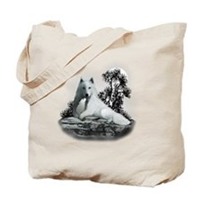 White Wolf and Pup Tote Bag