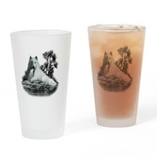 White Wolf and Pup Drinking Glass