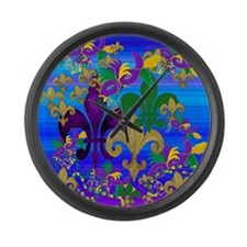 Mardi Gras Psycadelic Fleur de li Large Wall Clock