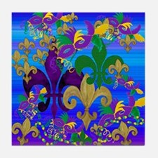 Mardi Gras Psycadelic Fleur de lis Tile Coaster