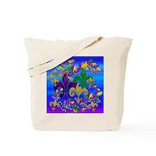 Mardi Gras Psycadelic Fleur de lis Tote Bag