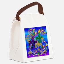 Mardi Gras Psycadelic Fleur de li Canvas Lunch Bag