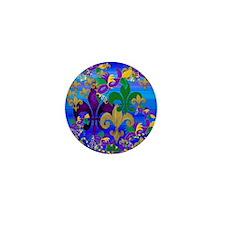 Mardi Gras Psycadelic Fleur de lis Mini Button