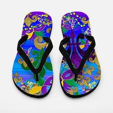 Mardi Gras Psycadelic Fleur de lis Flip Flops