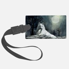 White Wolf and Pup Luggage Tag