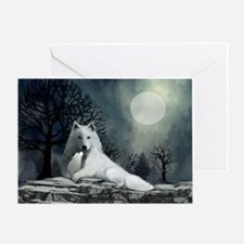White Wolf and Pup Greeting Card