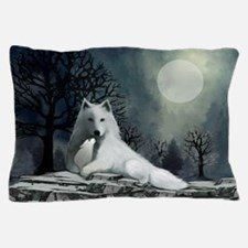 White Wolf and Pup Pillow Case
