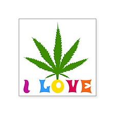 """I Love Marijuana Square Sticker 3"""" x 3"""""""