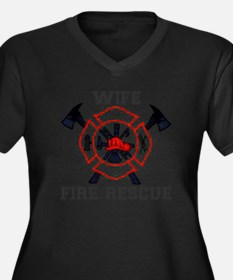 Fire Fighter Women's Plus Size Dark V-Neck T-Shirt