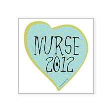 """Nurse 2012 Heart Square Sticker 3"""" x 3"""""""