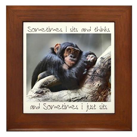 Monkey Sits Framed Tile