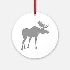 Grey Moose Round Ornament