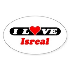 I Love Isreal Oval Decal