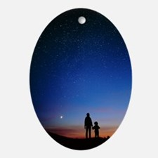 Starry sky and stargazers Oval Ornament