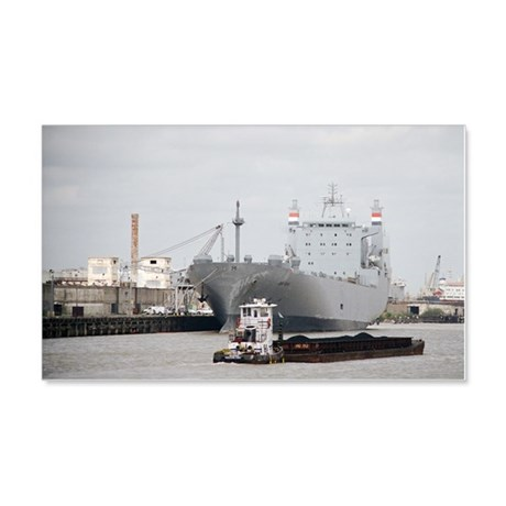 Tug pushing barge at Port of Hous 20x12 Wall Decal