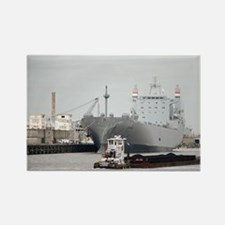 Tug pushing barge at Port of Hous Rectangle Magnet